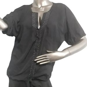 Guess Black Short sleeve Blouse Size Large